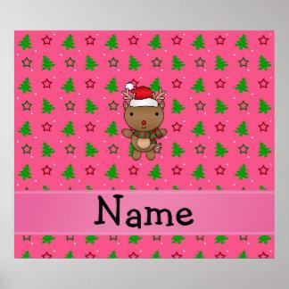 Personalized name santa reindeer pink trees print