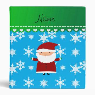 Personalized name santa sky blue snowflakes binders