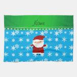 Personalized name santa sky blue snowflakes kitchen towel