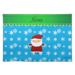 Personalized name santa sky blue snowflakes placemats