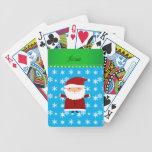 Personalized name santa sky blue snowflakes card deck
