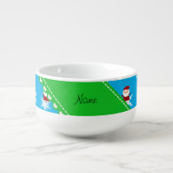 Personalized name santa sky blue snowflakes soup bowl with handle