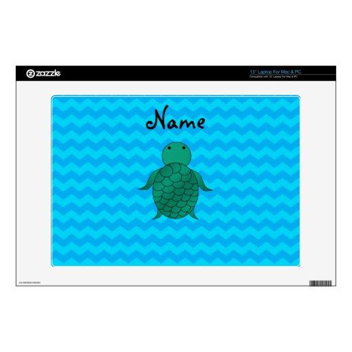 Personalized name sea turtle blue chevrons laptop skin