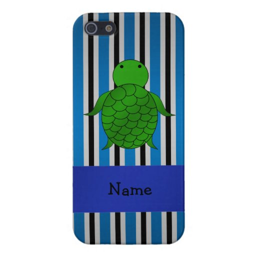 Personalized name sea turtle blue stripes covers for iPhone 5