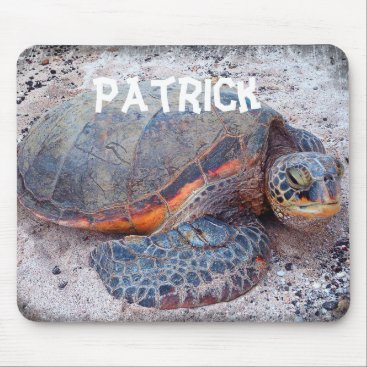 Beach Themed Personalized name sea turtle photo mousepad