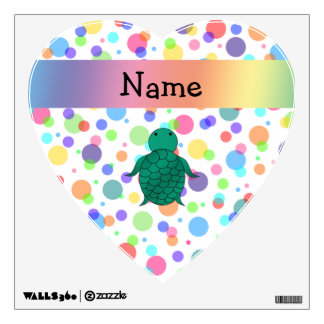 Personalized name sea turtle rainbow polka dots room decal