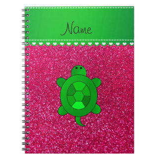 Personalized name sea turtle rose pink glitter notebook