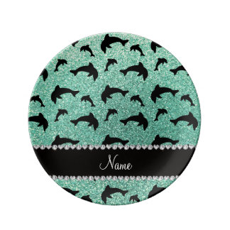 Personalized name seafoam green glitter dolphins porcelain plate