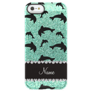 Personalized name seafoam green glitter dolphins permafrost iPhone SE/5/5s case