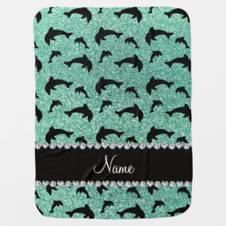Personalized name seafoam green glitter dolphins stroller blanket