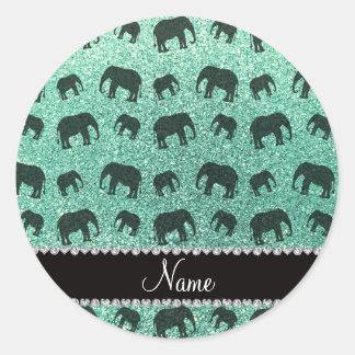 Personalized name seafoam green glitter elephants classic round sticker
