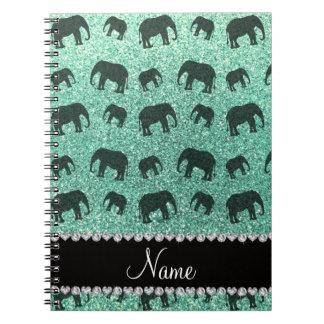 Personalized name seafoam green glitter elephants note book