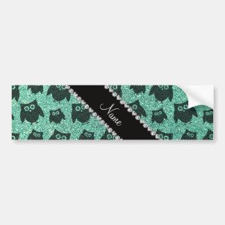 Personalized name seafoam green glitter owls bumper stickers