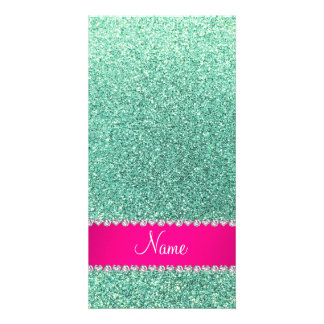 Personalized name seafoam green glitter pink strip photo cards