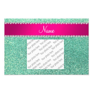 Personalized name seafoam green glitter pink strip art photo