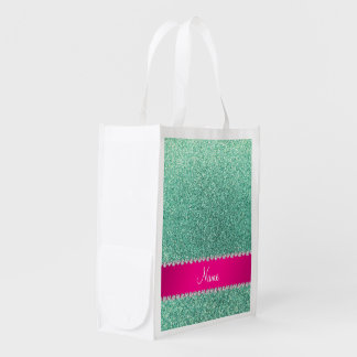Personalized name seafoam green glitter pink strip reusable grocery bag