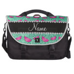 Personalized name seafoam green glitter watermelon laptop bags