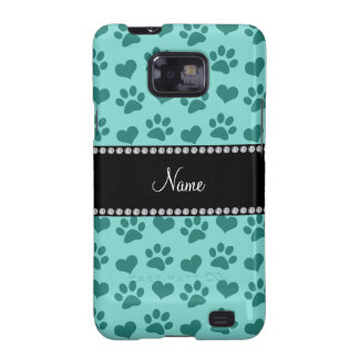 Personalized name seafoam green hearts and paws samsung galaxy s2 cover