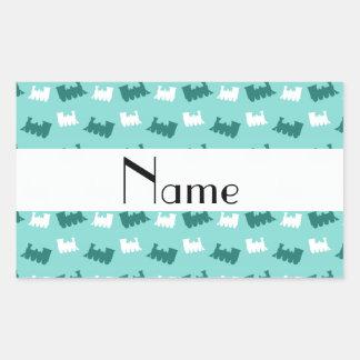 Personalized name seafoam green train pattern rectangular stickers