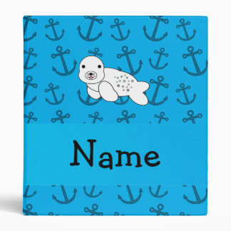 Personalized name seal blue anchors pattern 3 ring binders