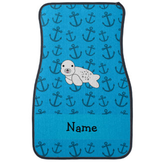 Personalized name seal blue anchors pattern car floor mat