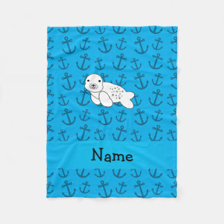 Personalized name seal blue anchors pattern fleece blanket