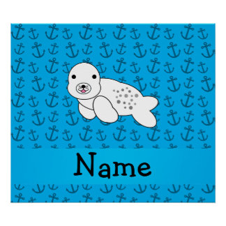 Personalized name seal blue anchors pattern posters