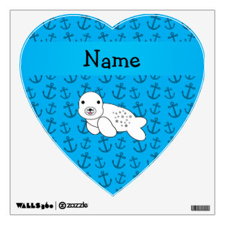 Personalized name seal blue anchors pattern wall stickers