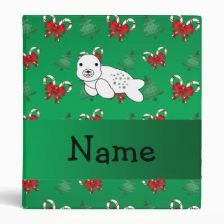 Personalized name seal green candy canes bows binder