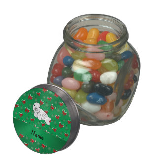 Personalized name seal green candy canes bows jelly belly candy jar