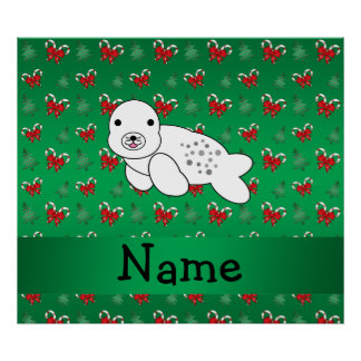 Personalized name seal green candy canes bows posters