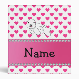 Personalized name seal pink hearts polka dots 3 ring binders