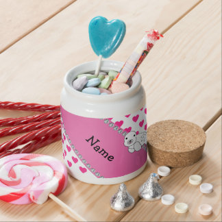 Personalized name seal pink hearts polka dots candy jar