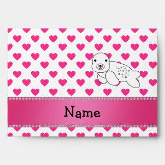 Personalized name seal pink hearts polka dots envelope