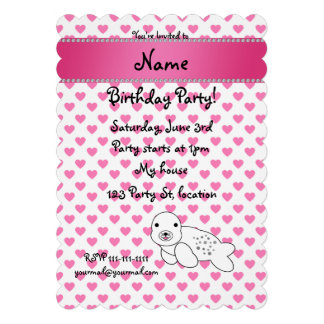 Personalized name seal pink hearts polka dots personalized announcements