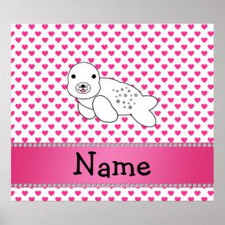 Personalized name seal pink hearts polka dots print