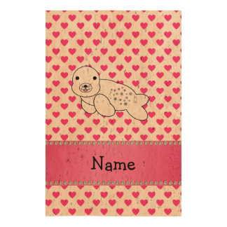 Personalized name seal pink hearts polka dots cork paper