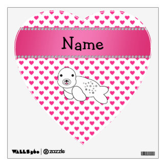 Personalized name seal pink hearts polka dots room graphics