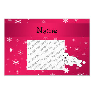 Personalized name seal pink snowflakes art photo