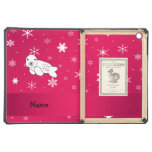 Personalized name seal pink snowflakes iPad air covers