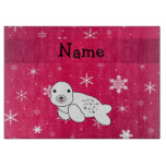 Personalized name seal pink snowflakes cutting boards