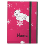 Personalized name seal pink snowflakes iPad folio cases