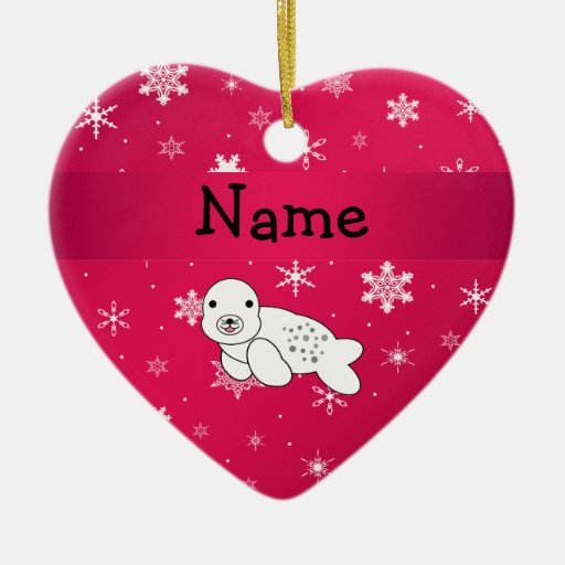 Personalized name seal pink snowflakes ornament