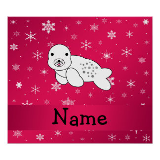 Personalized name seal pink snowflakes posters