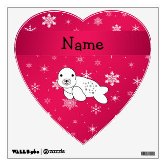 Personalized name seal pink snowflakes wall graphics