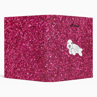 Personalized name seal pup pink glitter binder