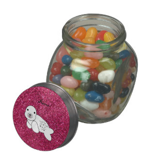 Personalized name seal pup pink glitter glass jar