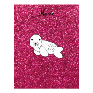 Personalized name seal pup pink glitter custom letterhead