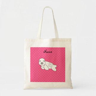 Personalized name seal pup pink polka dots tote bag