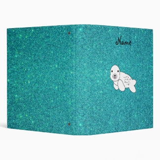 Personalized name seal pup turquoise glitter 3 ring binders